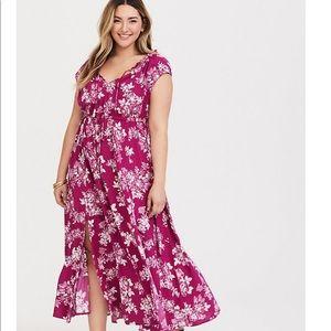 Off shoulder challis maxi dress